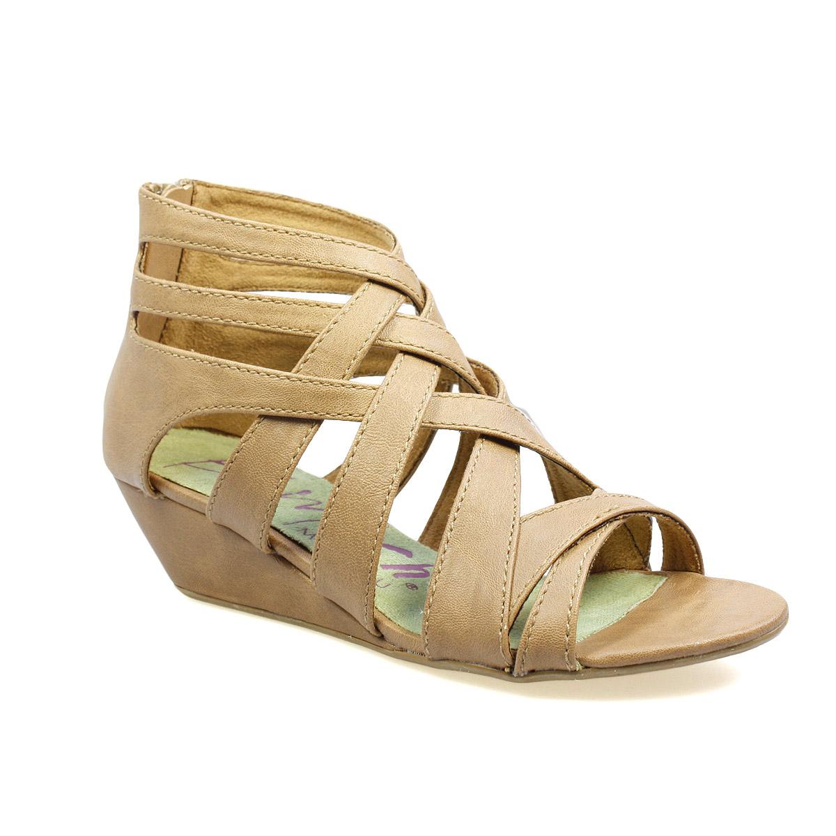 Blowfish Casita Womens Brown Gladiator Wedge Strap Sandals ...