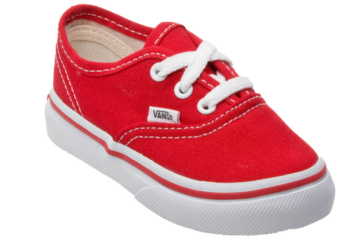 Vans Authentic Red Toddler Kids Canvas Low Top Trainers