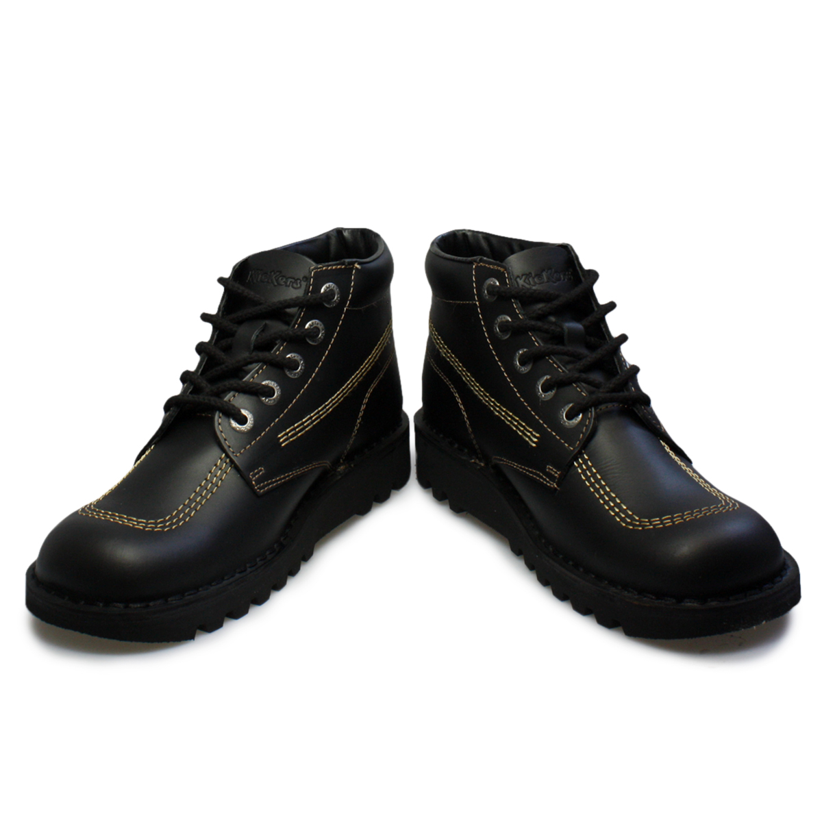 Kickers Kick Hi M Core Black Gold Leather Youth School ...