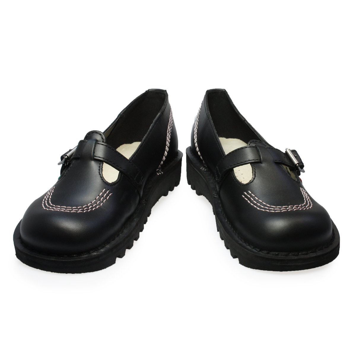 kickers kick lo t leather womens school buckle