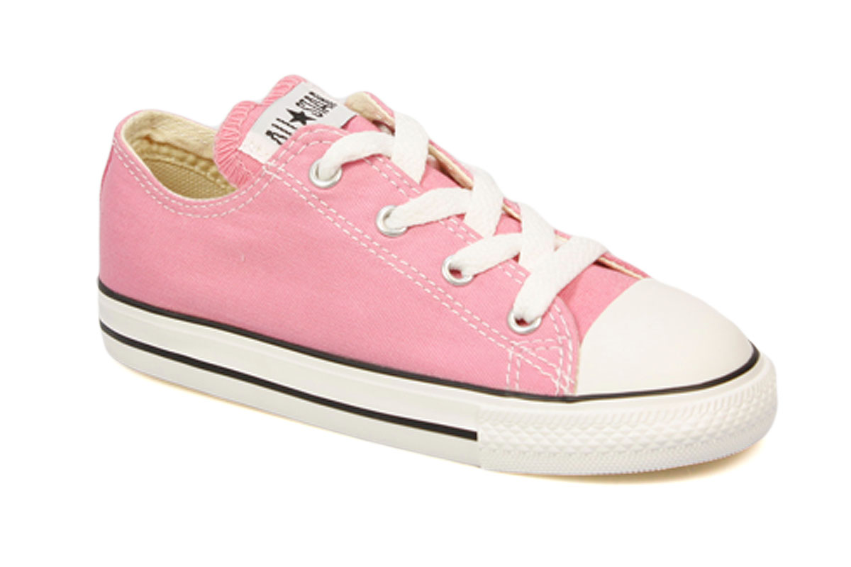 Converse Toddler Kids Pink White Canvas Trainers Sneakers ...