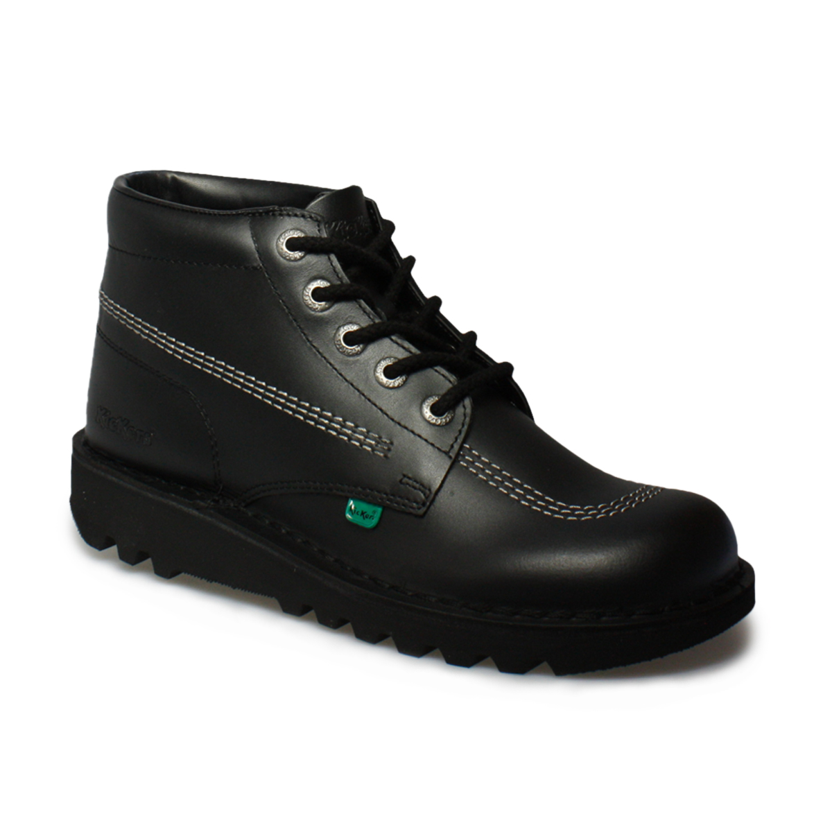 Kickers Kick Hi M Core Black Silver Leather School Shoes ...