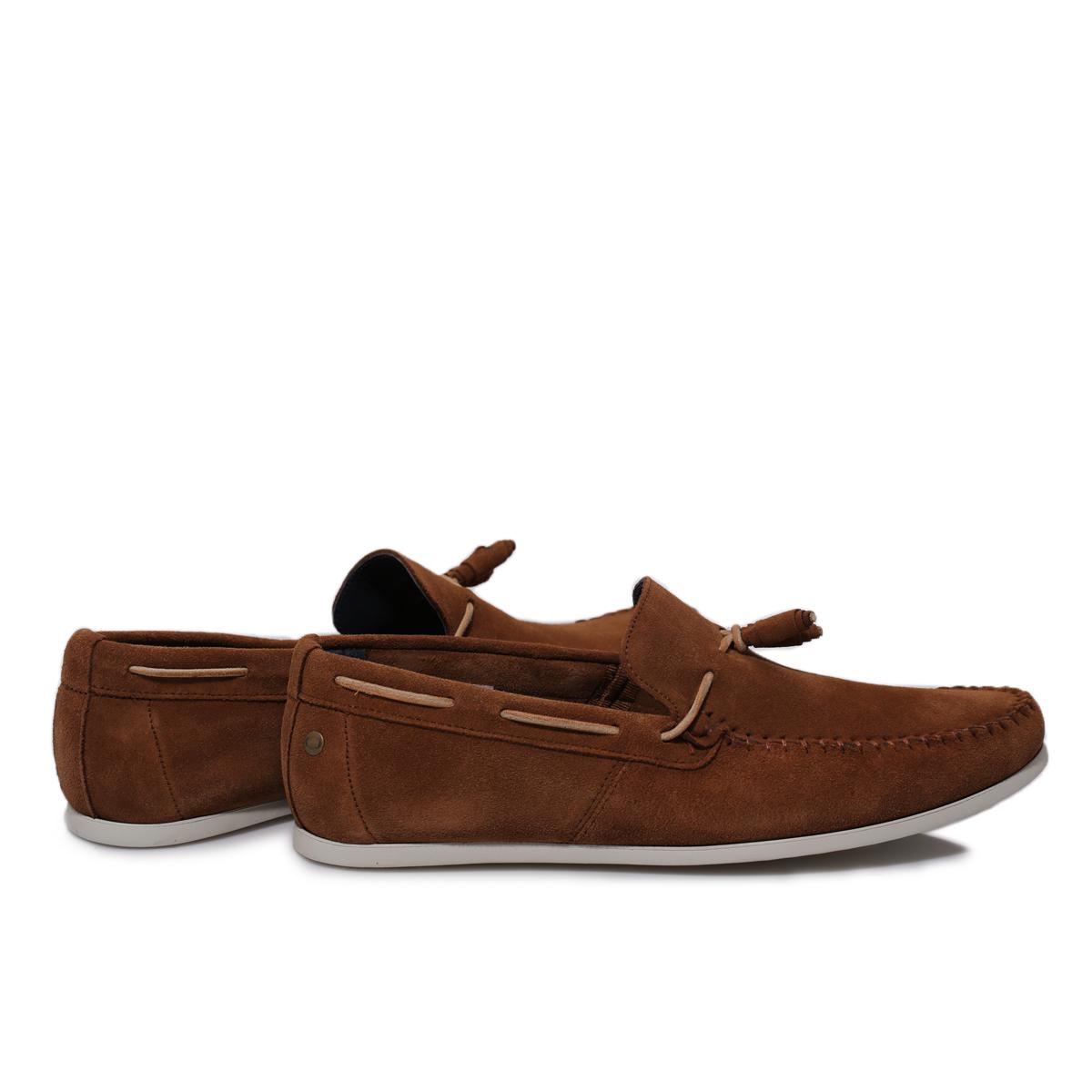 Base London Mens Joplin Brown Suede Moccasins Deck Boat Shoes Size ...