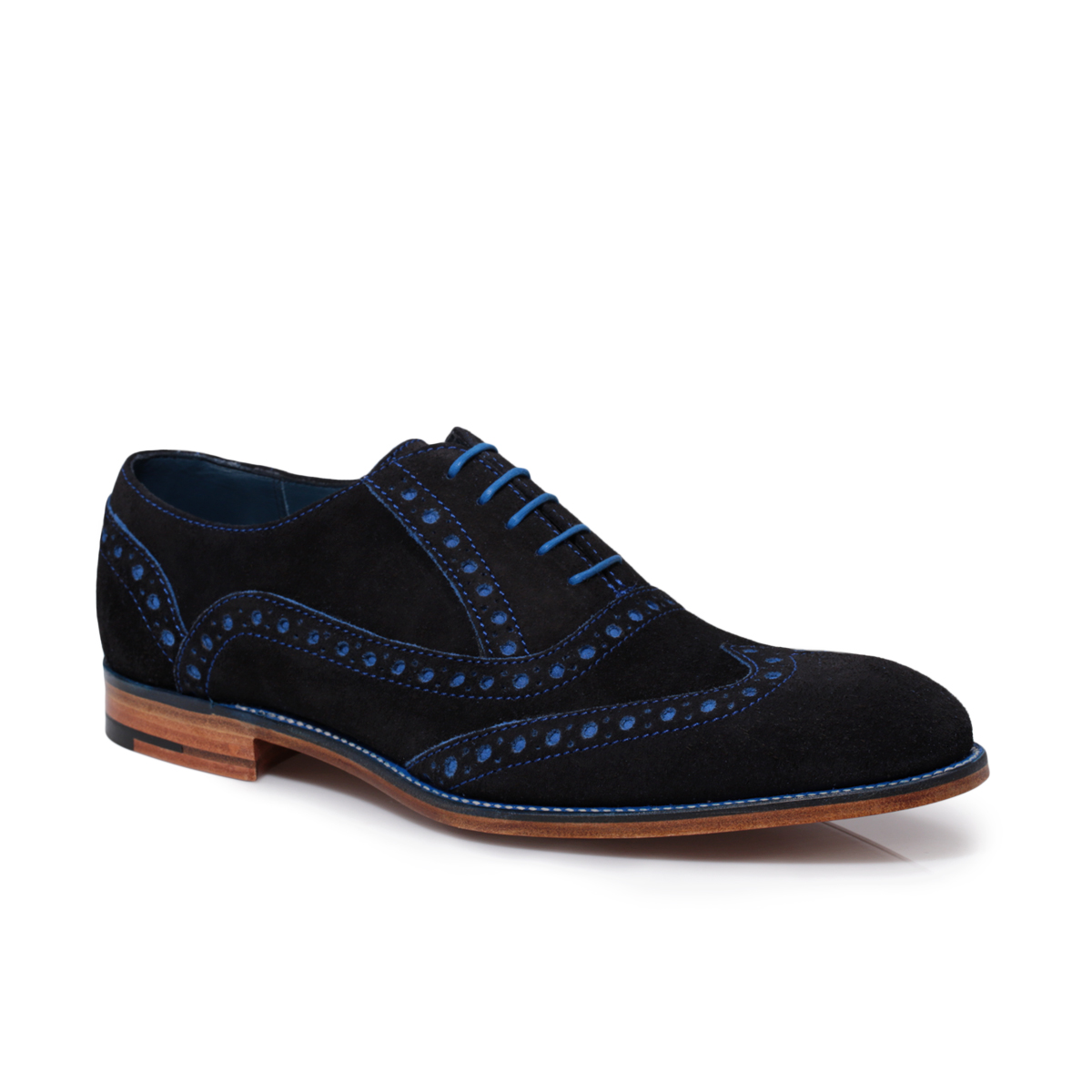 Barker-Grant-Navy-Blue-Suede-Leather-Mens-Brogue-Shoes-Size-7-11
