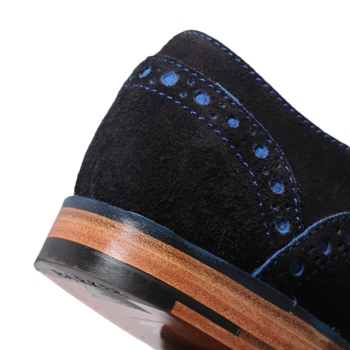 1f881564b4e62 Barker Grant Navy Blue Suede Leather Mens Brogue Shoes Size 7 - 11 ...