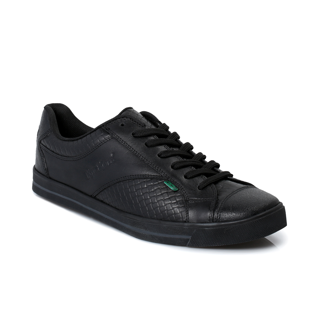 kickers woly lace up black leather mens trainers shoes