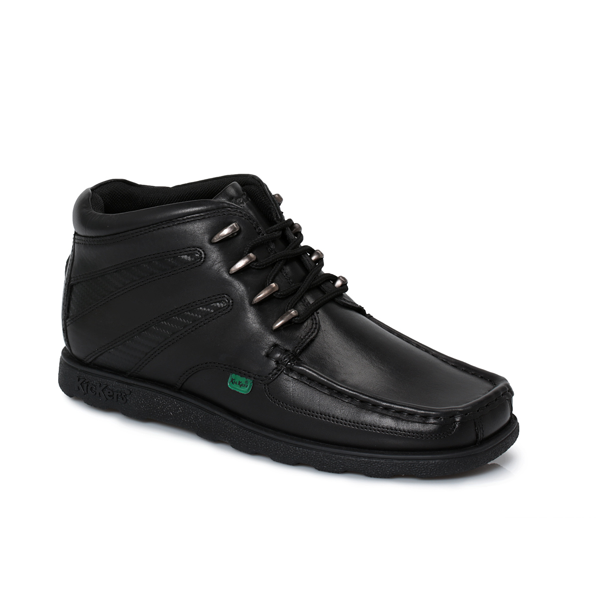 Kickers Black Leather Junior Lace Up Boots Kids School ...