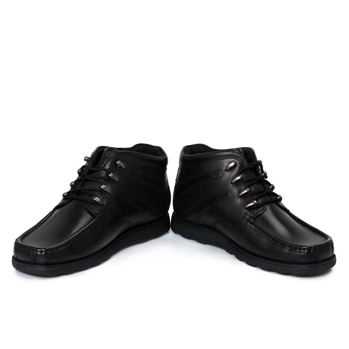 kickers black leather junior lace up boots school