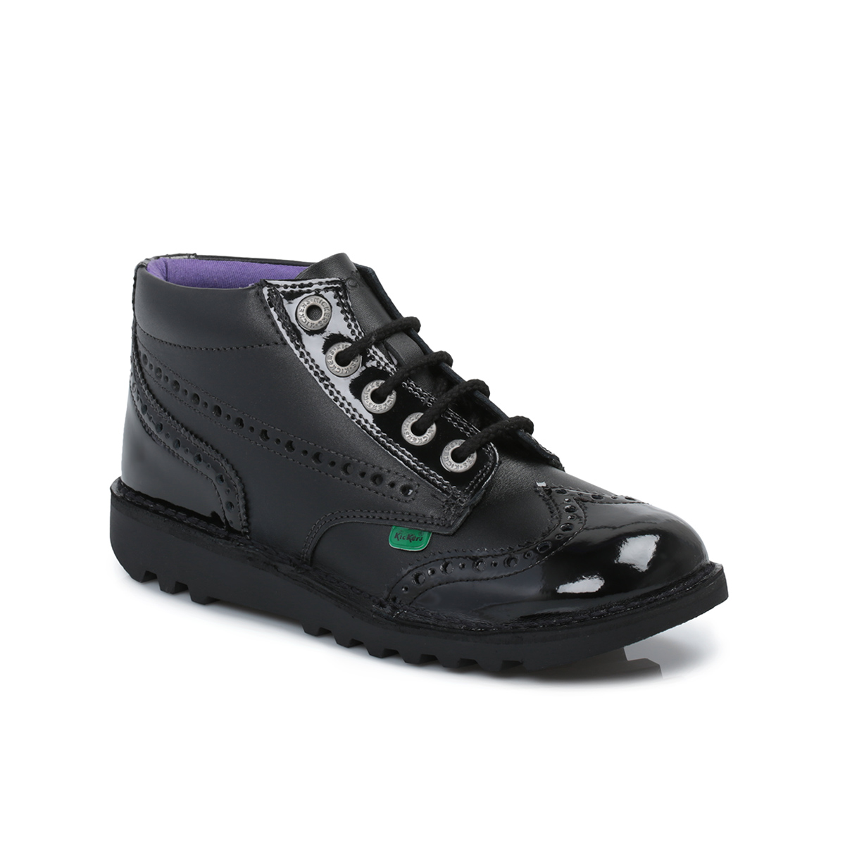 Kickers Kick Brogue Black Leather Youth Kids Boots Shoes ...