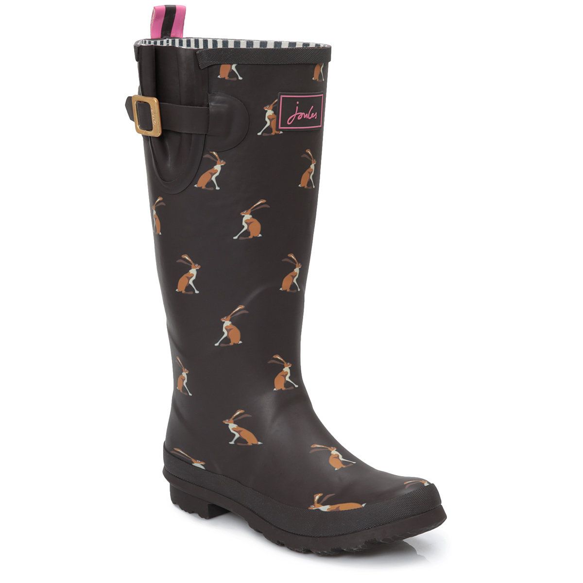 joules womens brown hare print wellington knee high boots