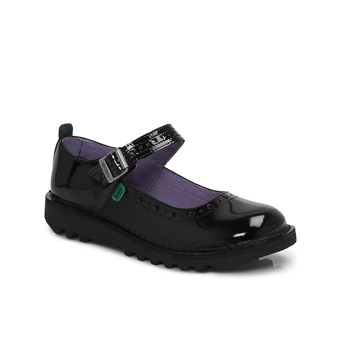 Black kicker sandals - Kickers Junior Kick Bar Brogue Patent Black Leather Kids Shoes Size 31 35