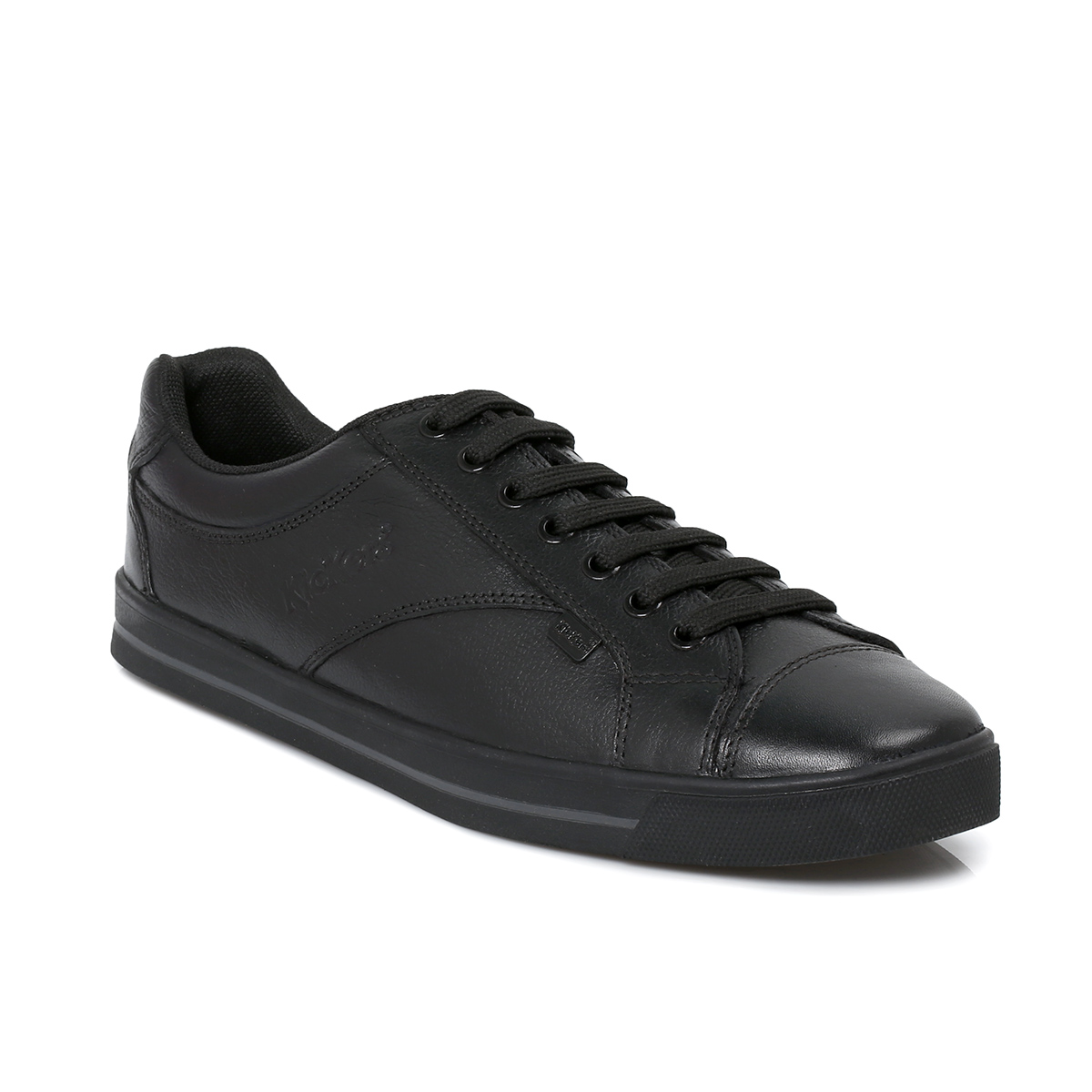 Kickers Wolny Black Lace Leather Boys Mens School Shoes ...