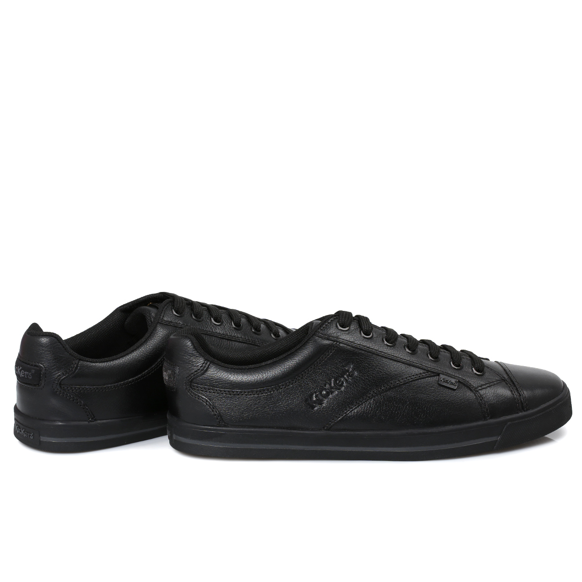 kickers wolny black lace leather boys mens school shoes