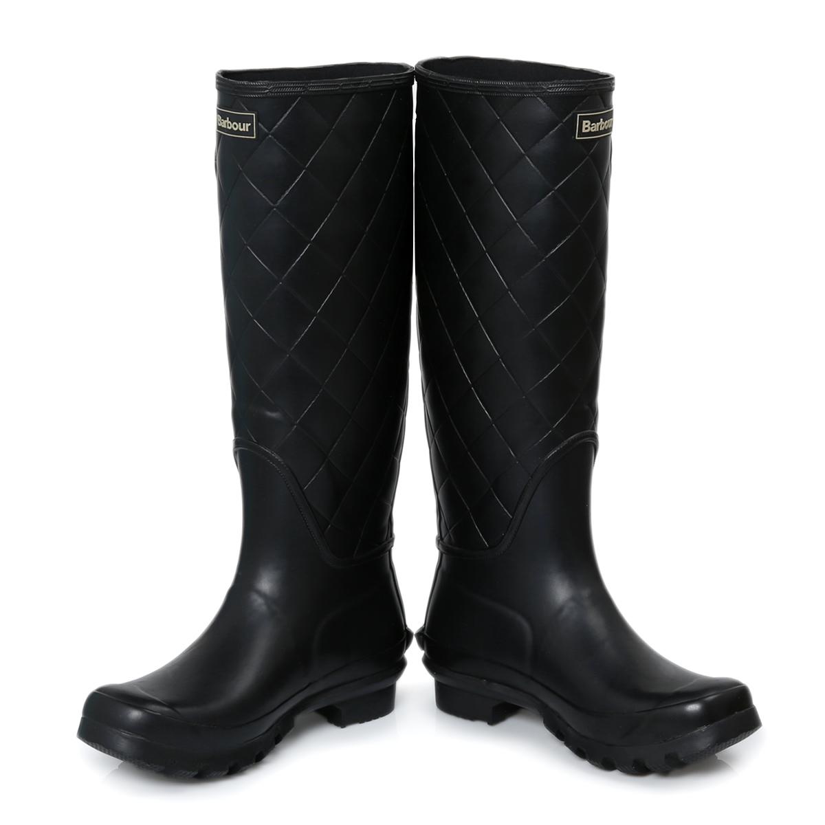 barbour setter black womens wellington knee high boots