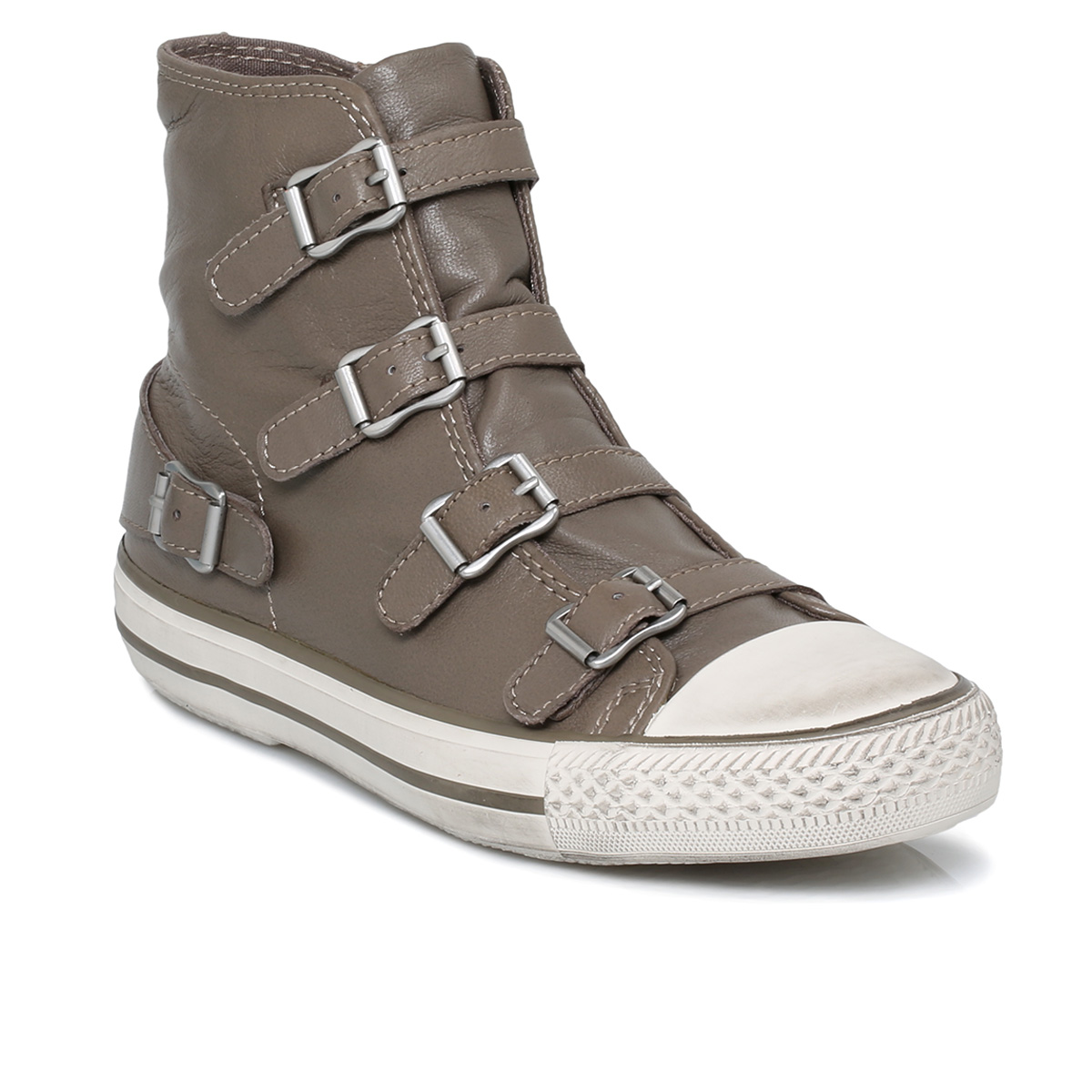 ash perkish beige leather buckle womens ankle