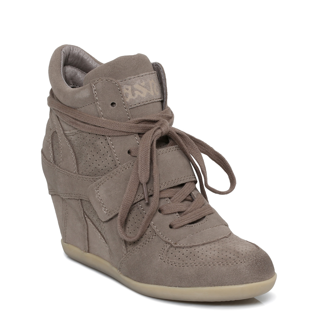 ash bowie beige suede womens wedges trainers shoes