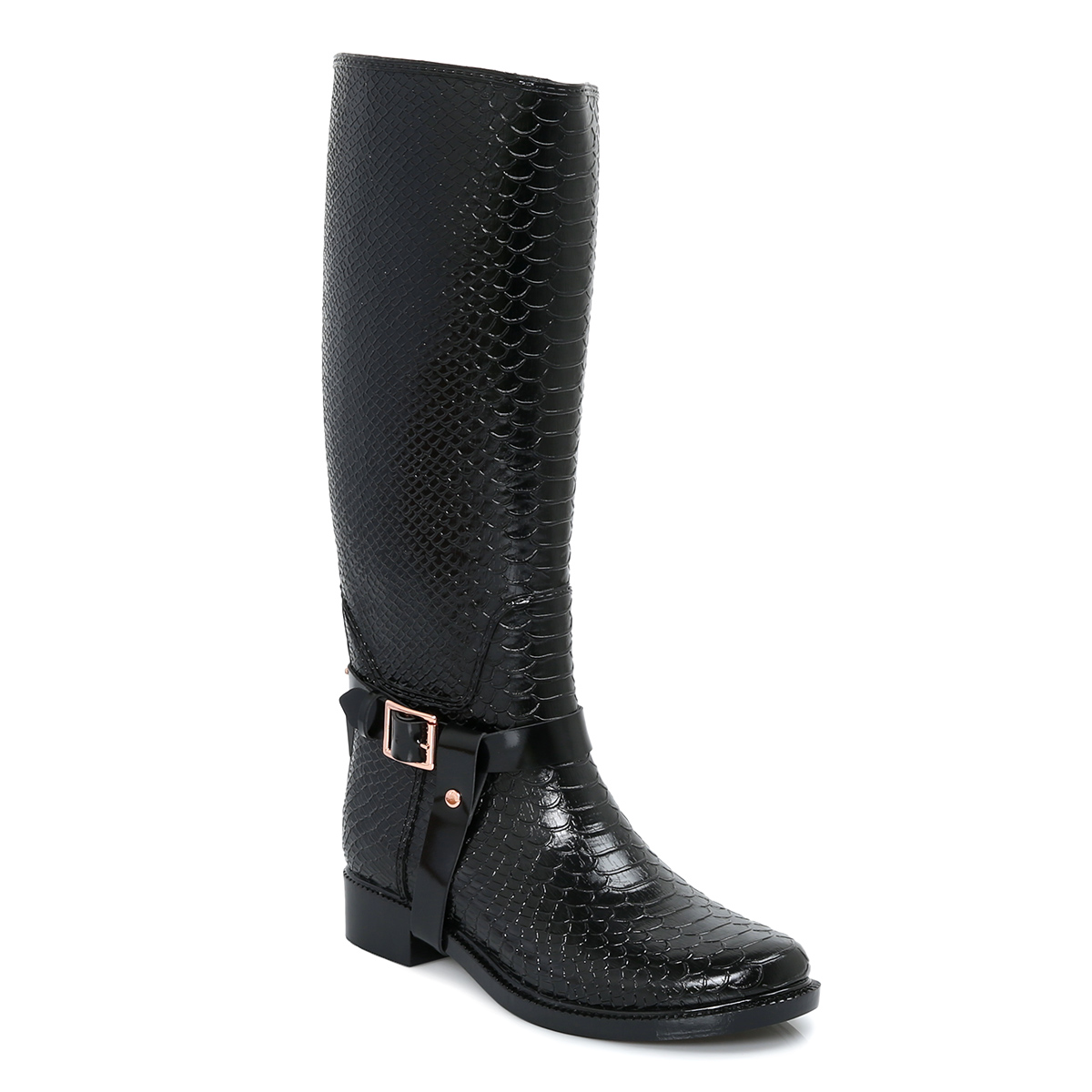 Ted Baker Black Leather Fesa Welly Womens Riding Boots ...