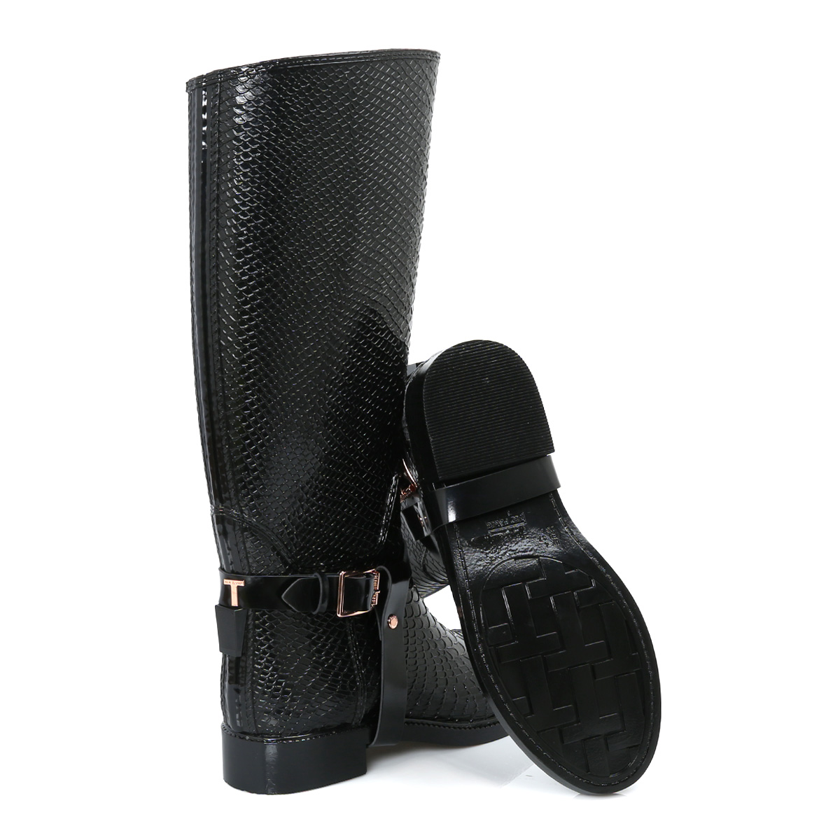 ted baker black leather fesa welly womens boots