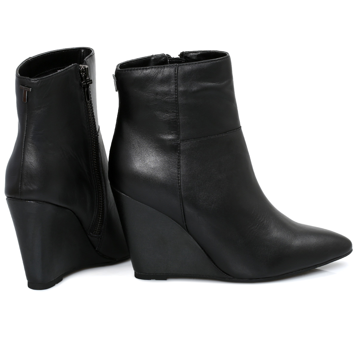 Womens Leather Wedge Ankle Boots - Yu Boots