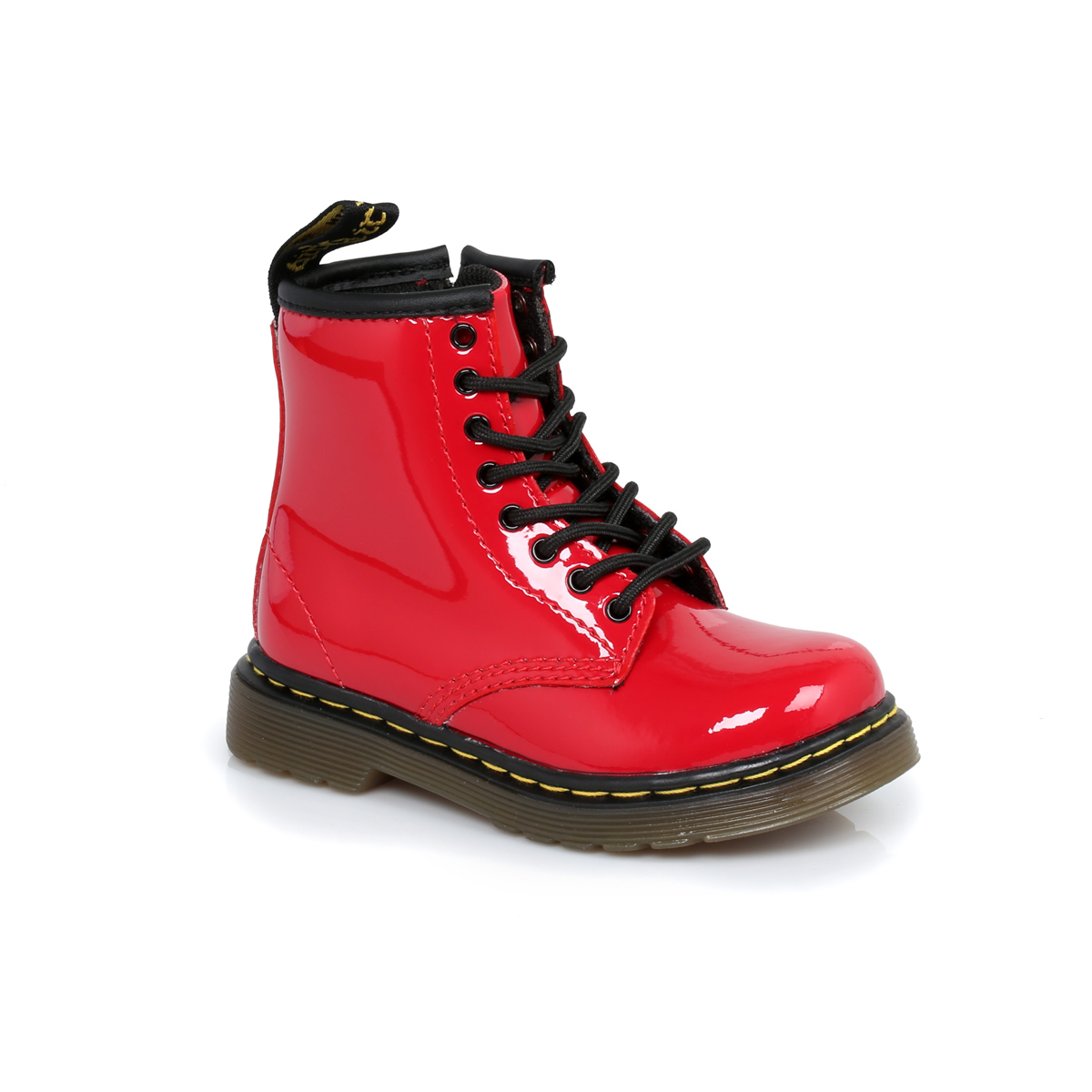 Dr martens infants red brooklee kids leather boots sizes 6 9 ebay