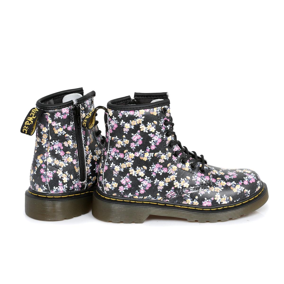 Dr Martens Floral Delaney Kids Leather Boots sizes 10-2 | eBay