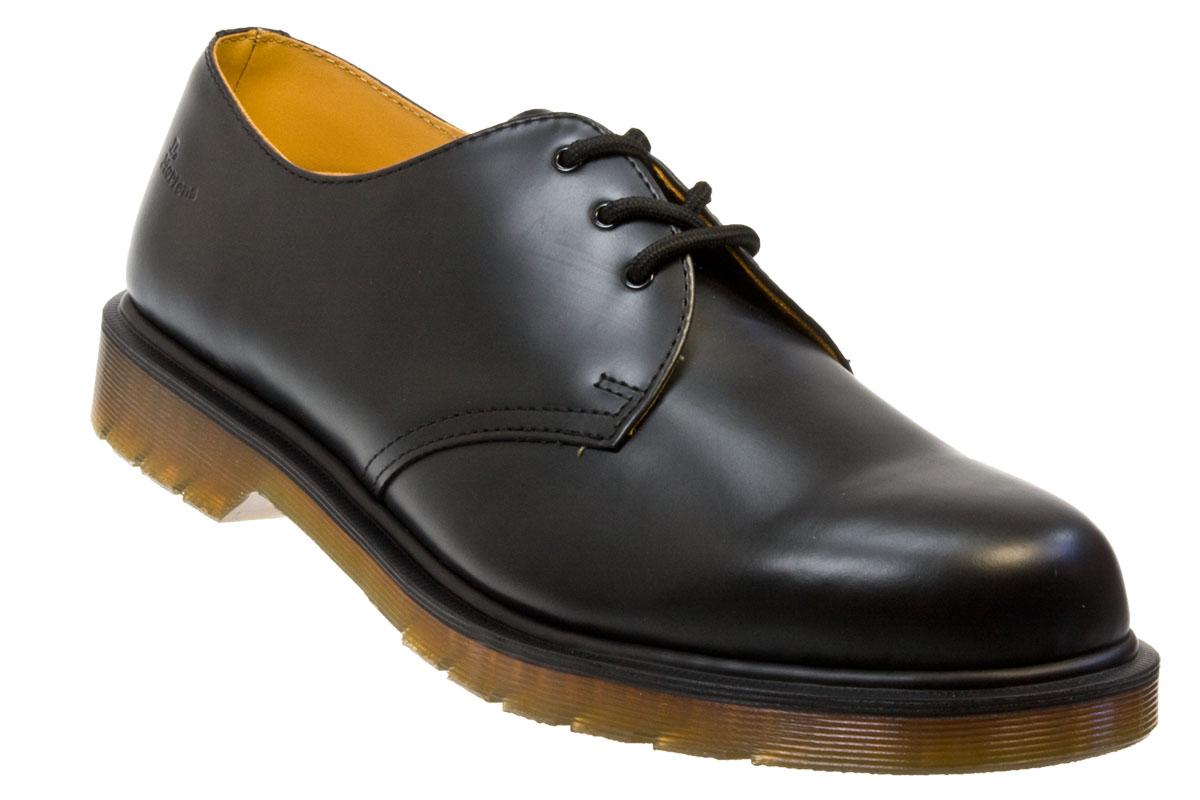 dr martens 1461 pw black smooth leather smart shoes. Black Bedroom Furniture Sets. Home Design Ideas