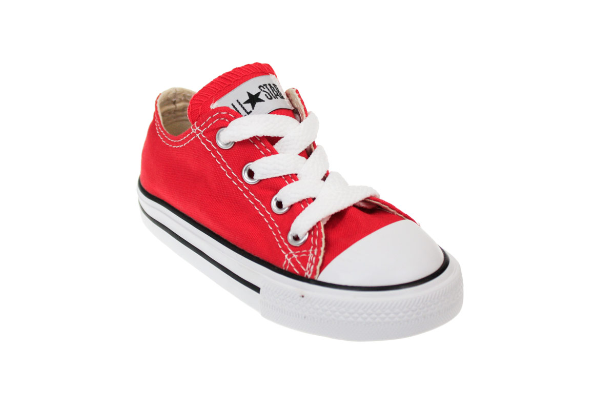 Converse CT Toddler Kids Red Canvas Low Top Trainers ...