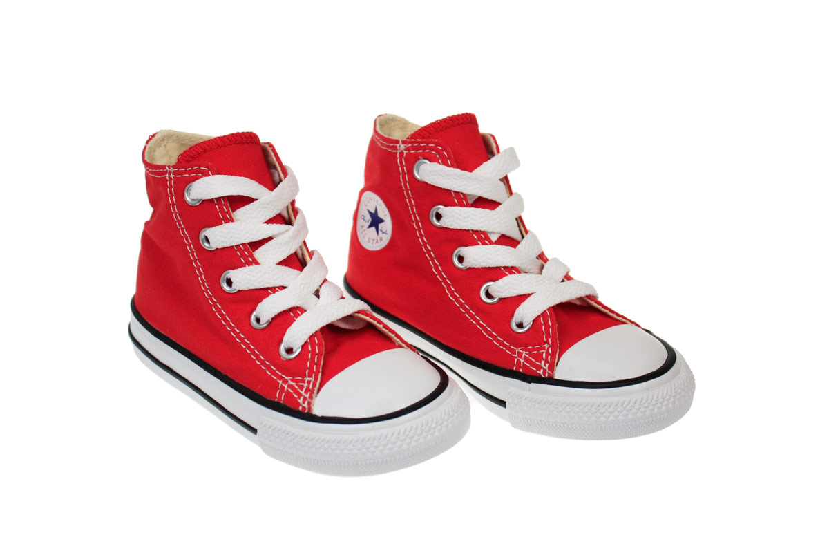 Hightop Red Canvas Tennis Shoes For Boys