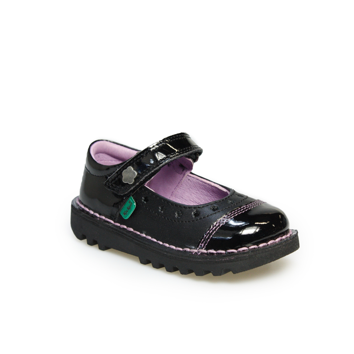Black kicker sandals - Kickers Mary Jane Fairy Black Leather Infants Girls Kids Buckle Shoes Size 7 8 5