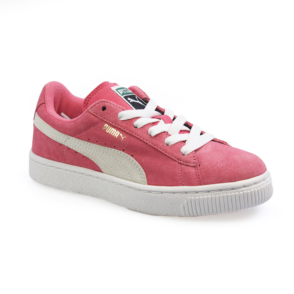 puma classic hot pink white junior suede trainers. Black Bedroom Furniture Sets. Home Design Ideas