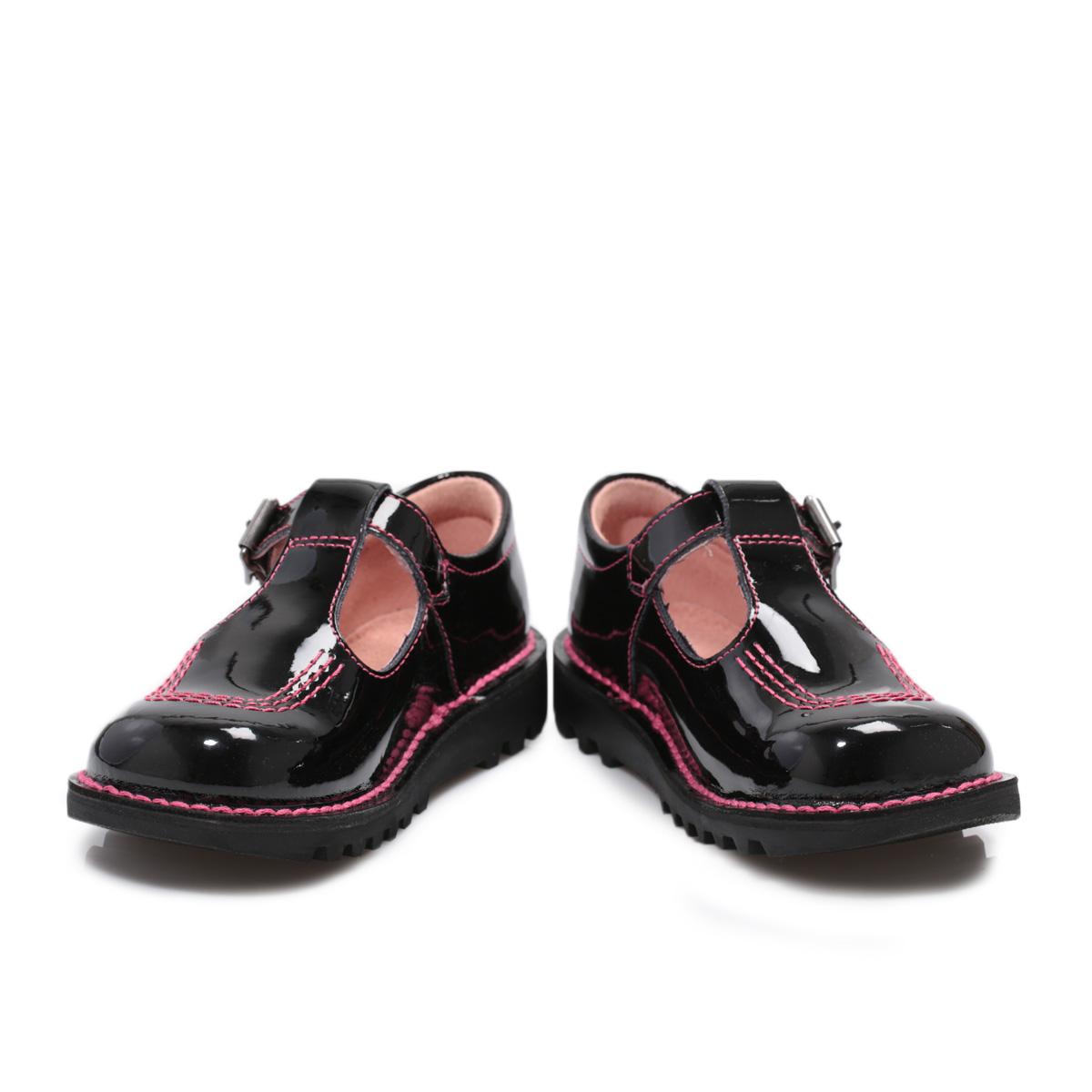 Black kicker sandals - Kickers Kick T Bar Core Kids Black Patent Leathe Sandals Shoes Size 8 5 11