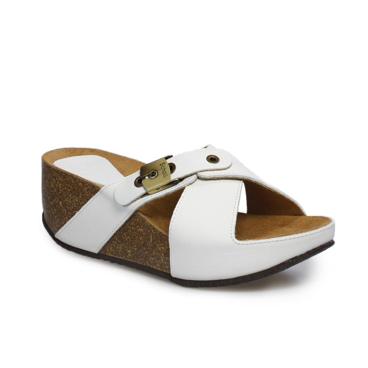 Womens sandals ebay - Scholl Elon 1 2 Off White Brown Leather Womens Buckle Platform Sandals Size 3 8