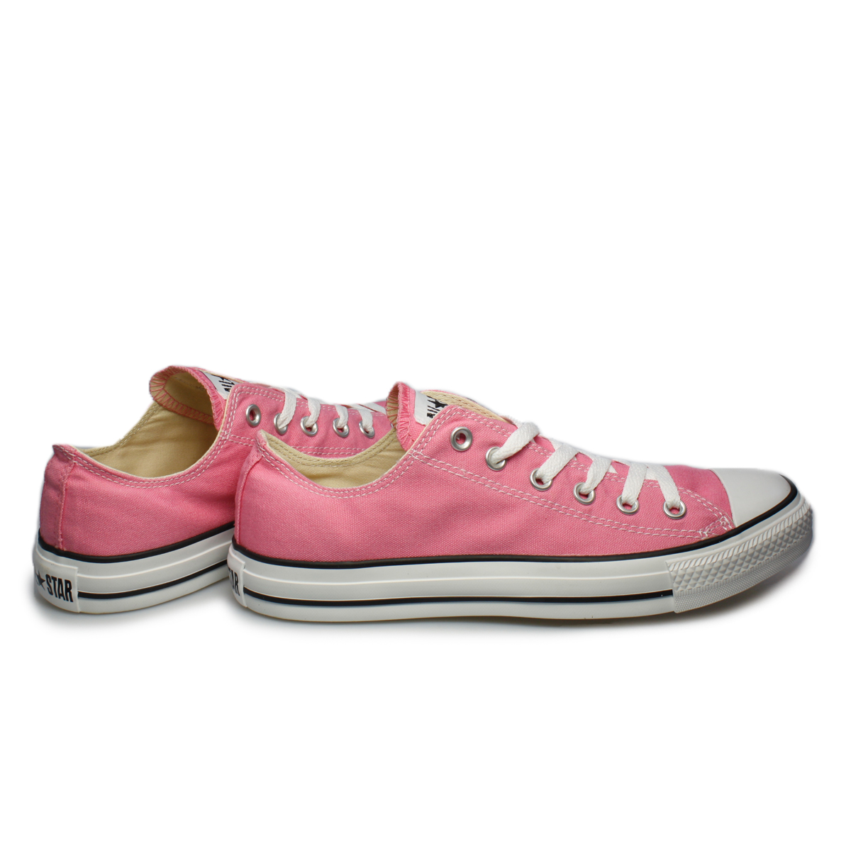 Converse All Star Pink White Canvas Trainers Sneakers ...
