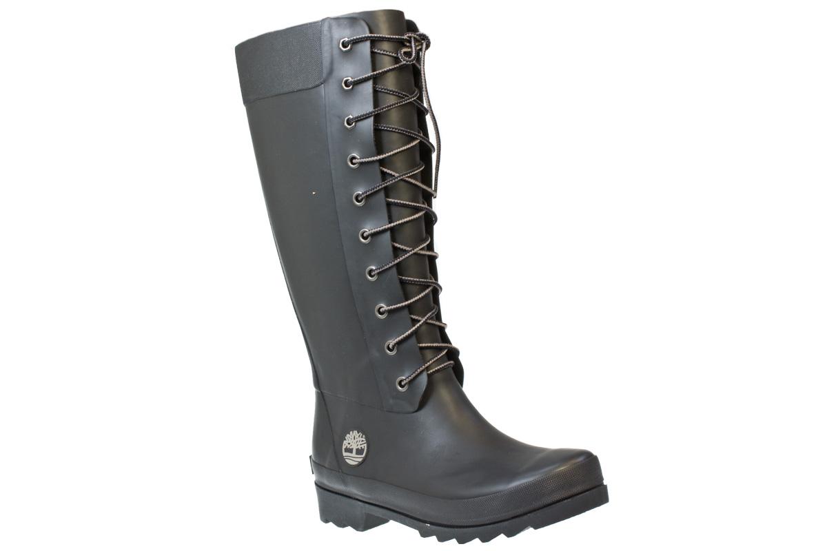 timberland welfleet womens black rubber wellington boots