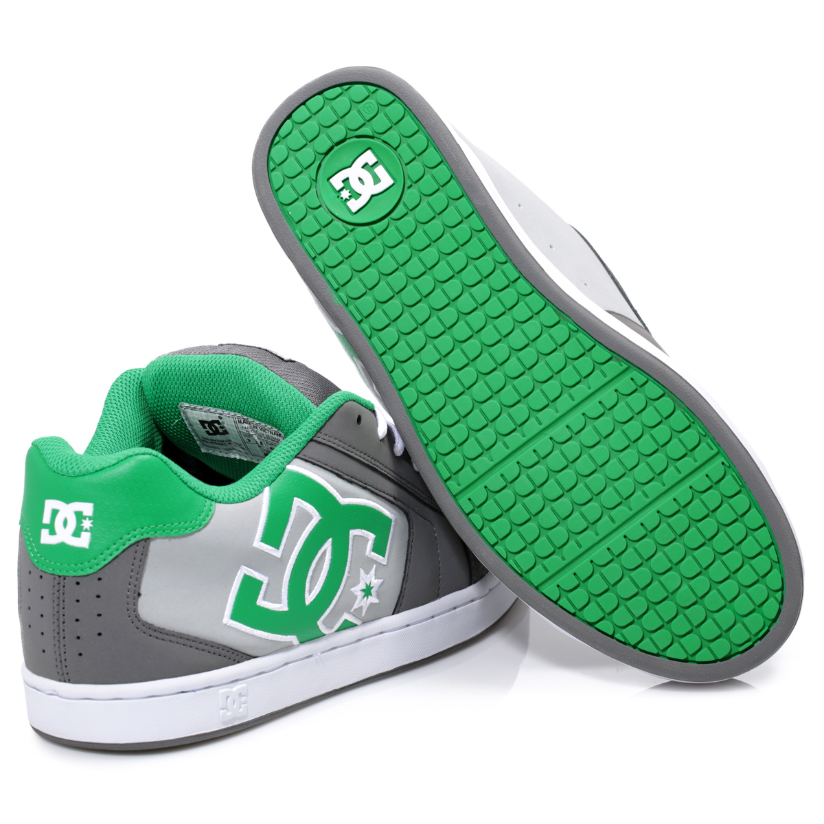 Dc Shoes Net Battleship Green Grey Mens Leather Trainers Sneakers Size