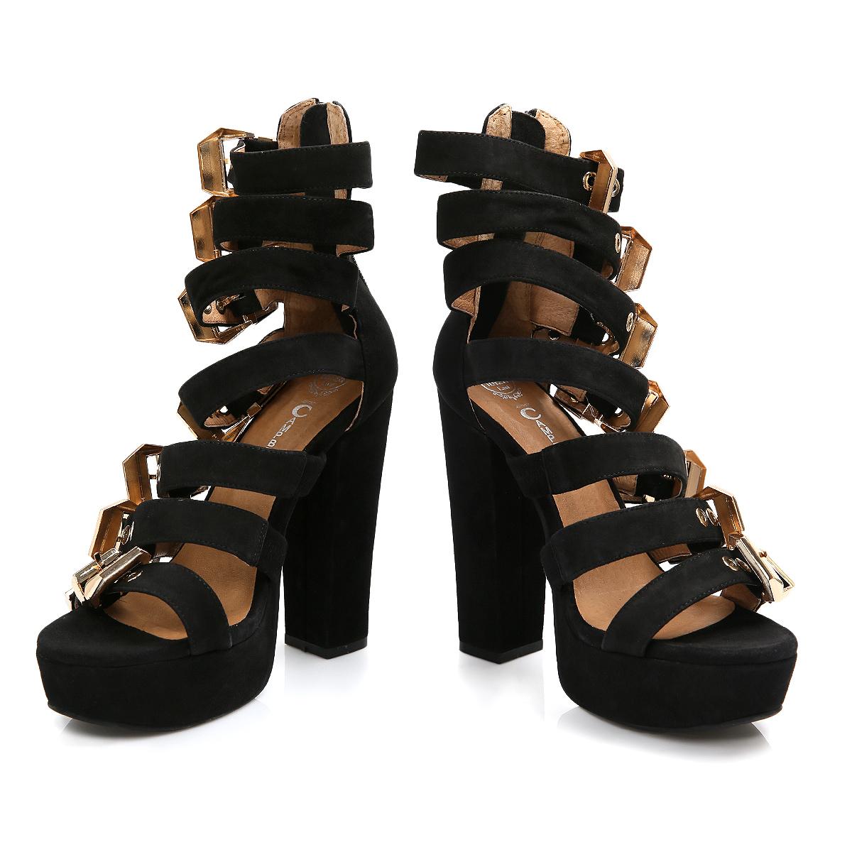 Black Heels With Gold Buckle - Is Heel