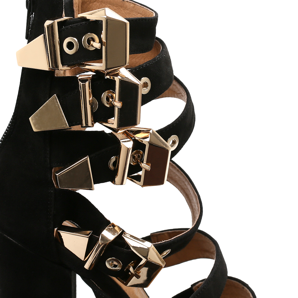 Jeffrey Campbell Donata Black Suede High Heels Gold Buckle Shoes