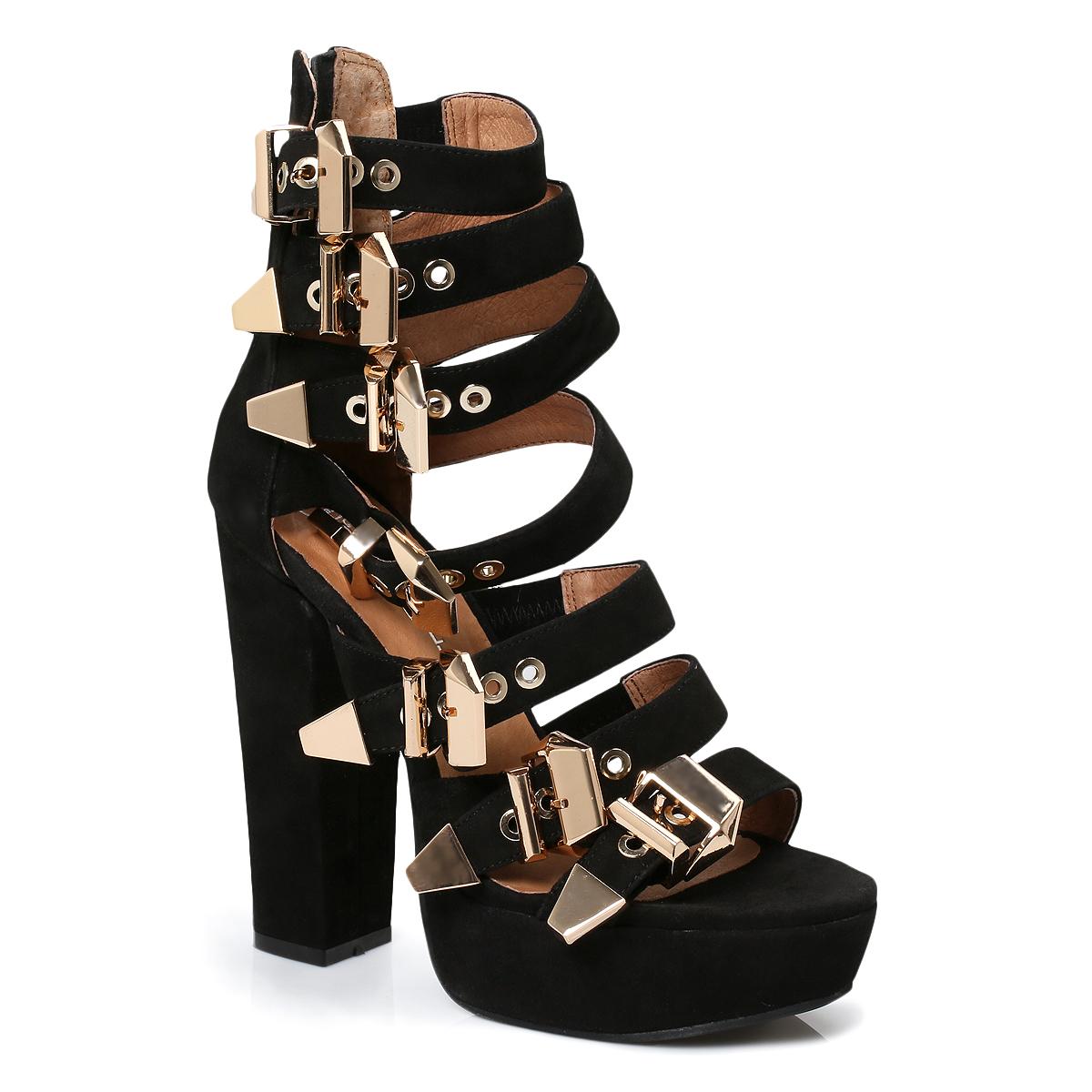 Black Heels With Gold Buckle | Tsaa Heel