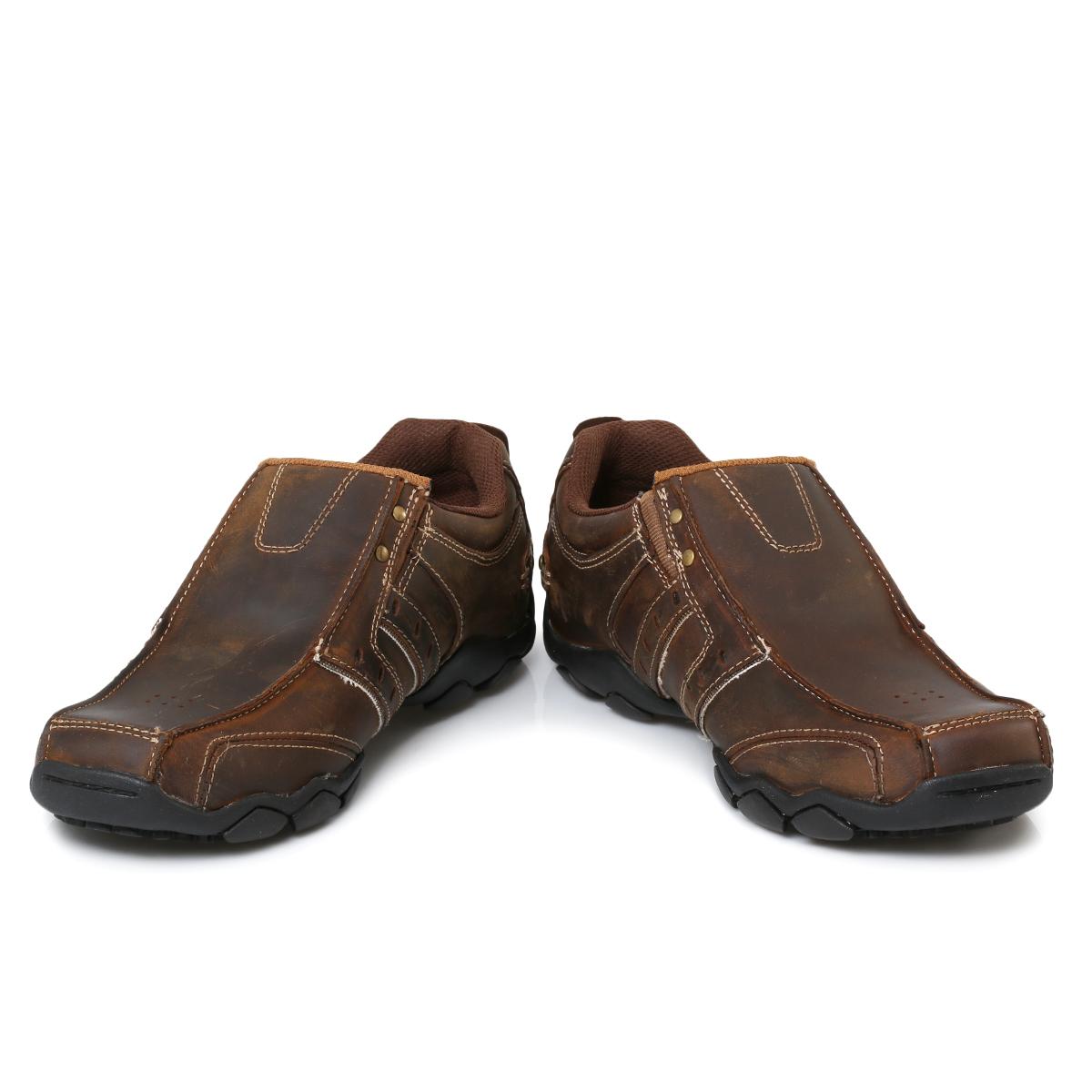skechers heisman brown leather mens trainers sneakers