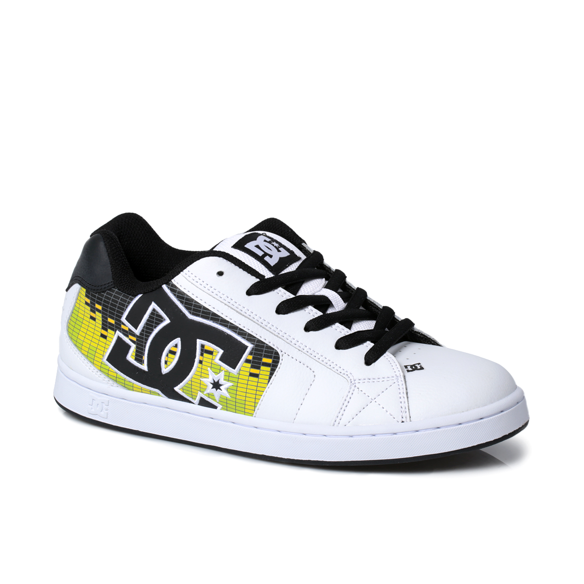 dc shoes net se leather mens white black trainers sneakers