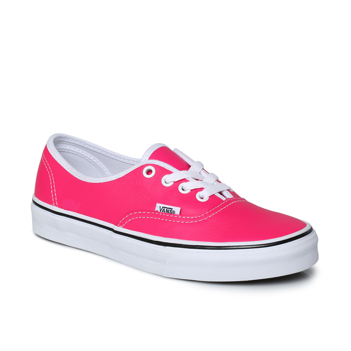 vans authentic neon pink leather womens sneaker trainers