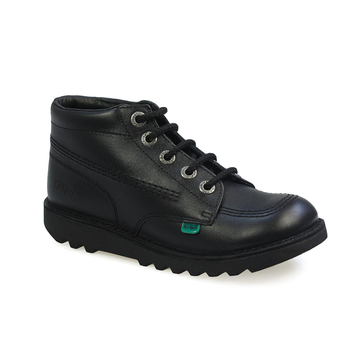 Black kicker sandals - Kickers Kick Hi Core Youth Kids Black Leather Lace Up Ankle Boots Size 3 6 5