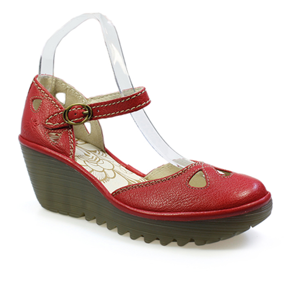 Fly London Yuna Women Ruby Red Leather Wedge Sandals - Fly London Yuna Women Ruby Red Leather Wedge Sandals EBay