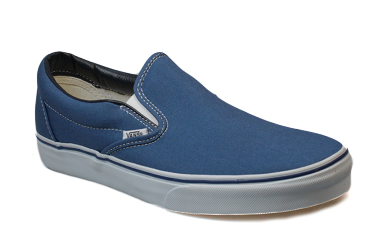vans classic mens womens navy blue white canvas slip on