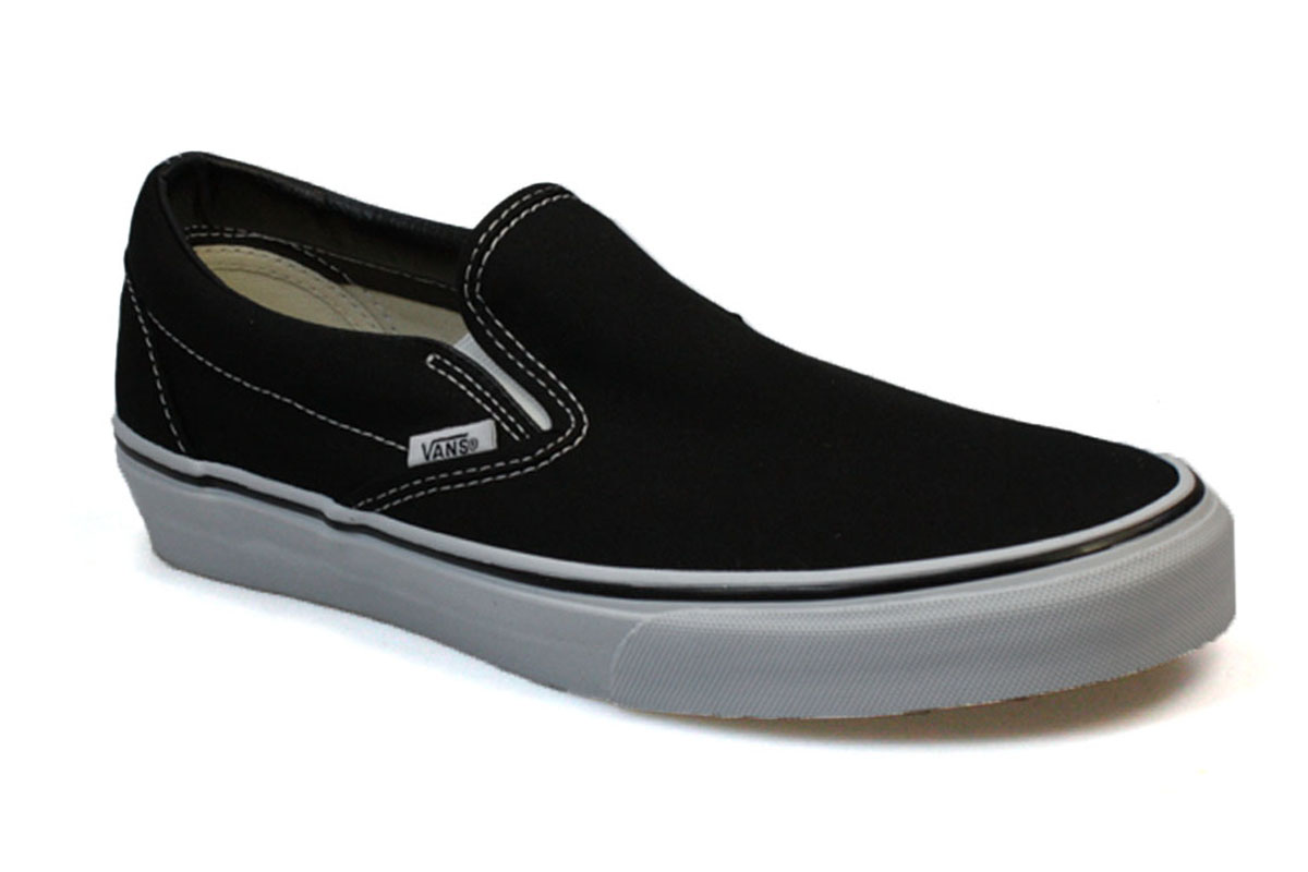 vans mens womens classic black white canvas slip on