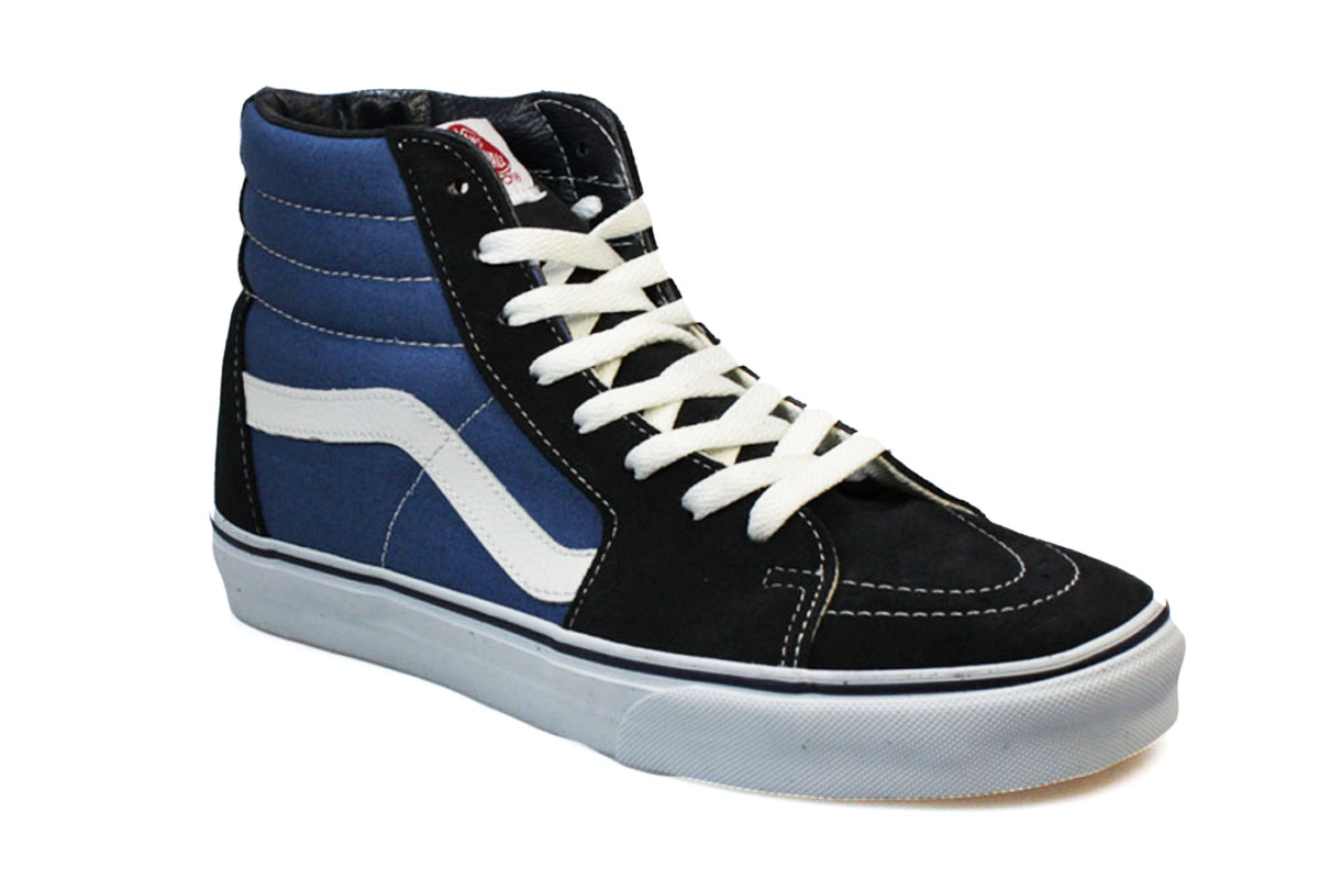 Vans High Top Weave Folk Womens Skate Shoes - Navy Blue/Cream