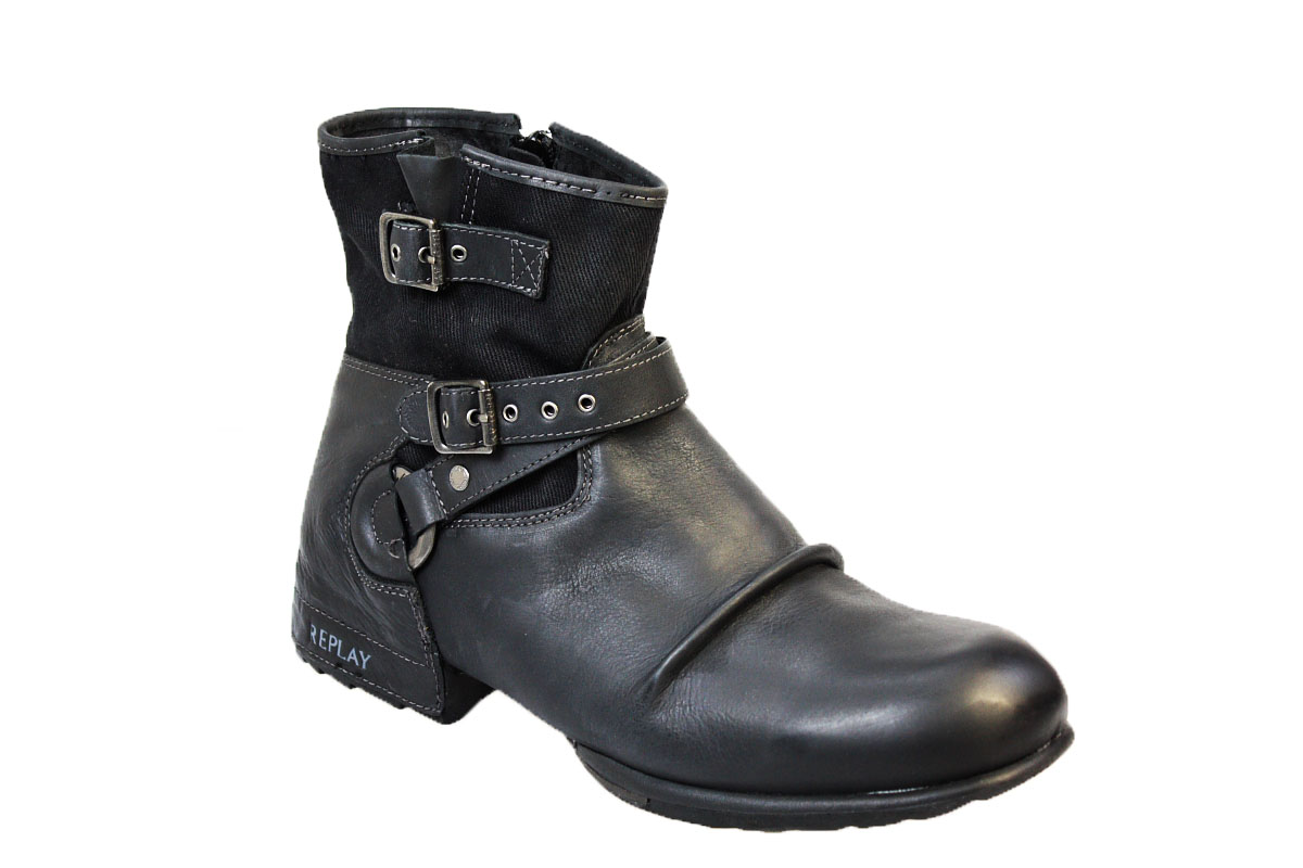 replay carbon mens black leather ankle boots shoes size 10