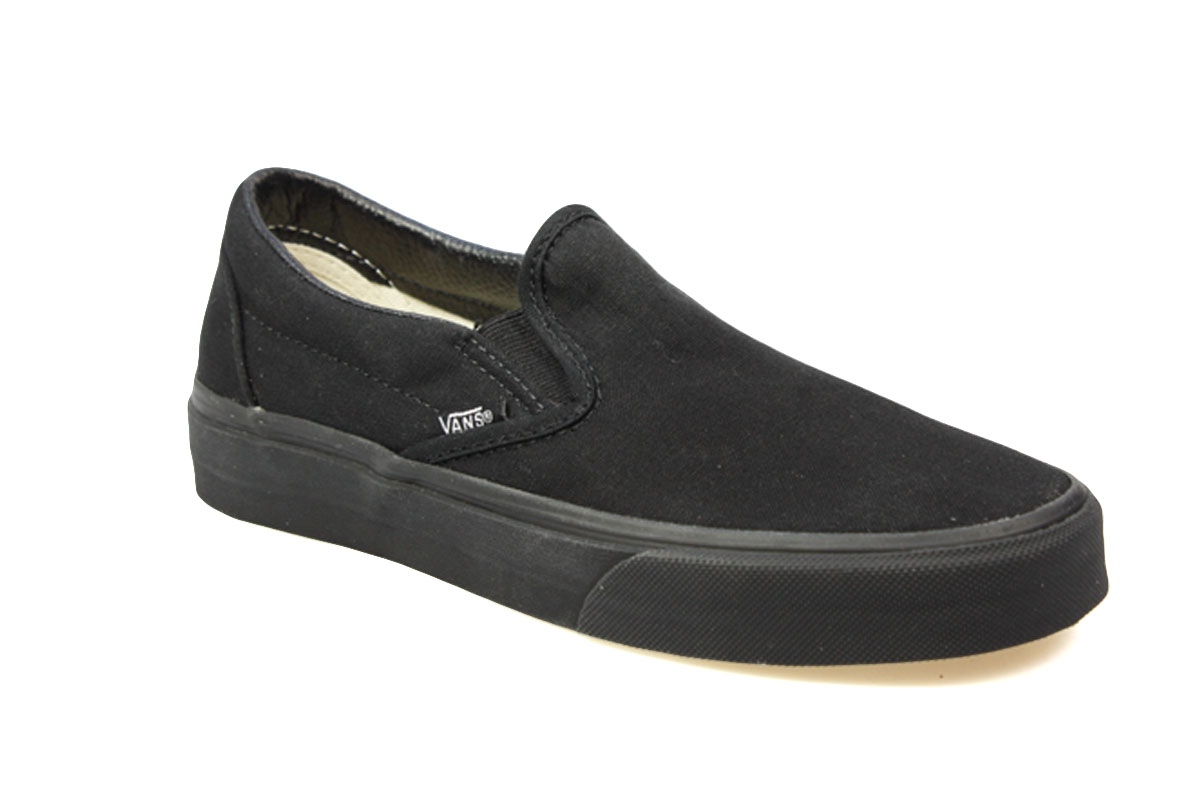 Vans-Classic-Slip-On-Mens-Womens-All-Black-Canvas-Skate-Shoes-Size-3