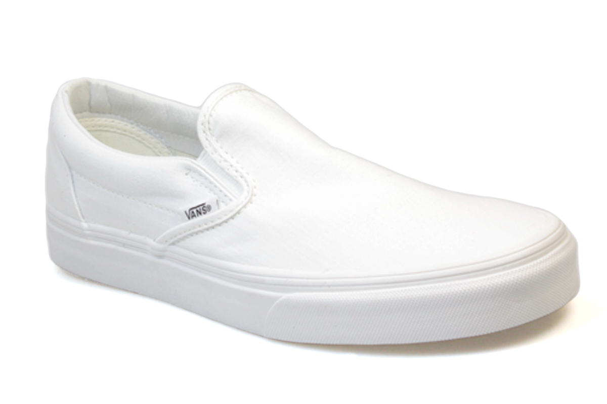 vans classic slip on white canvas mens womens trainers