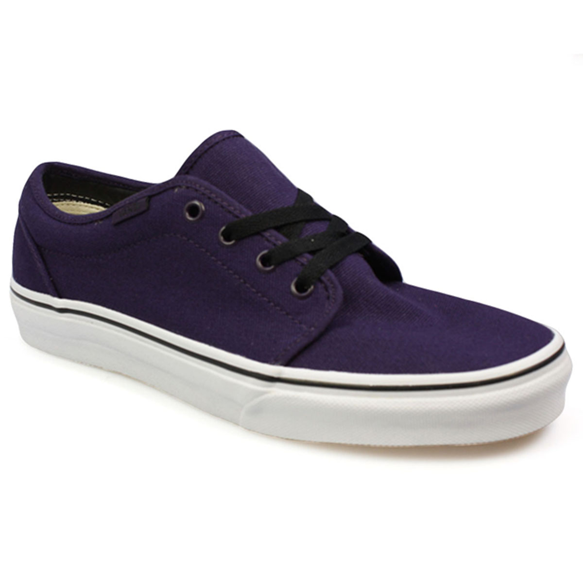 Vans 106 Mens Womens Purple Black White Canvas Trainers ...